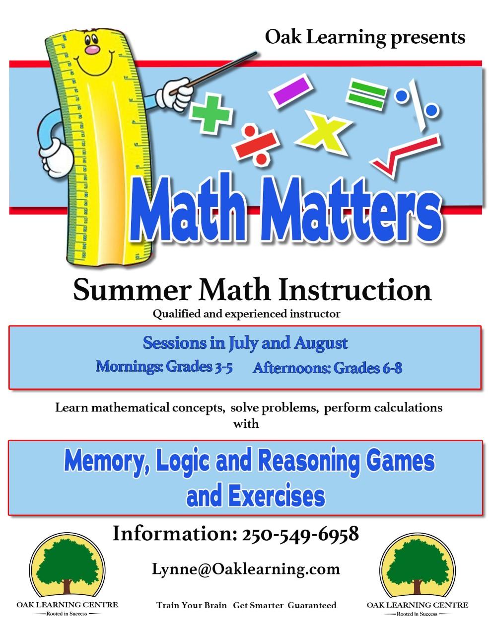 Summer Math Matters Poster
